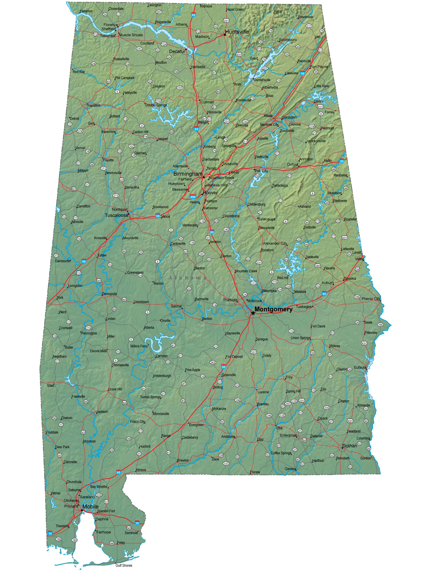Detailed Alabama Map -...