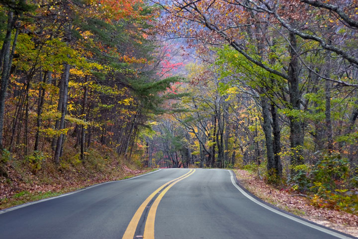 Alabama mountain road, with fall colors
