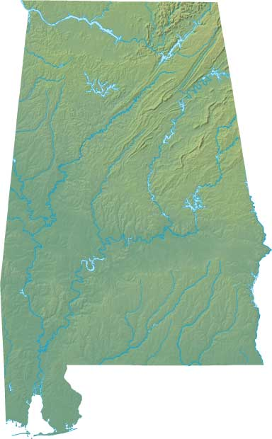 Alabama relief map