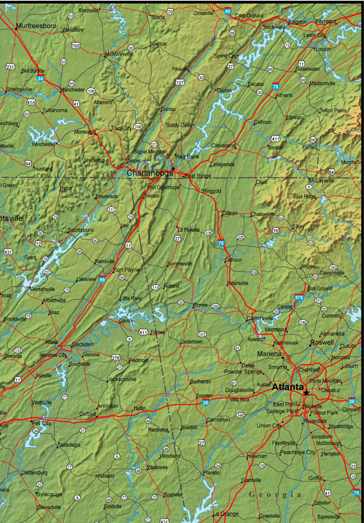 northeast Alabama map