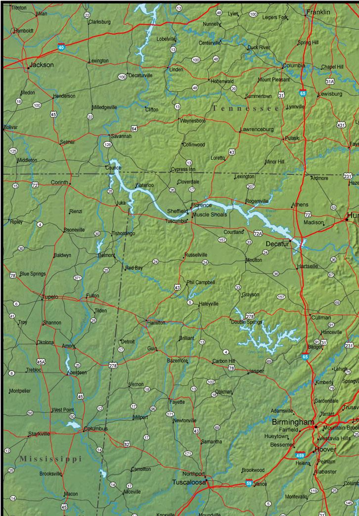 northwest Alabama map